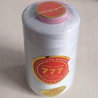 """Белые нитки """"777""""  швейные цветные 40/2 4000ярдов (от 6 бобин)"""