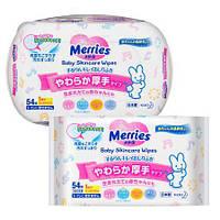 Merries Салфетки для новорожденных 54шт (пластик-бокс) + Салфетки 54 шт (сменная упак)