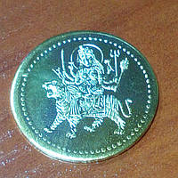 Монета алтарная из желтого метала Дурга 3см.