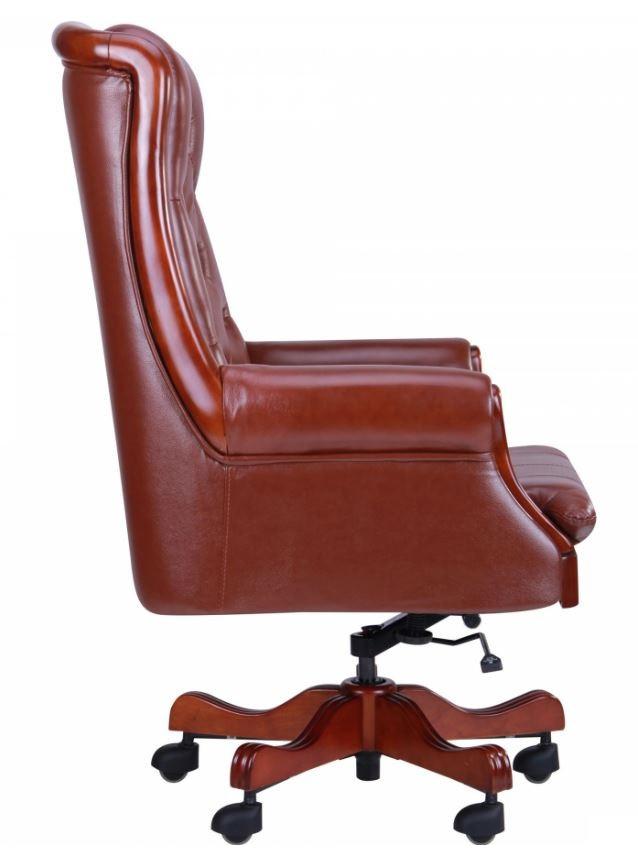 Кресло Линкольн, кожа коричневая (671-B+PVC) мех., DT-DeepTilt (фото 2)