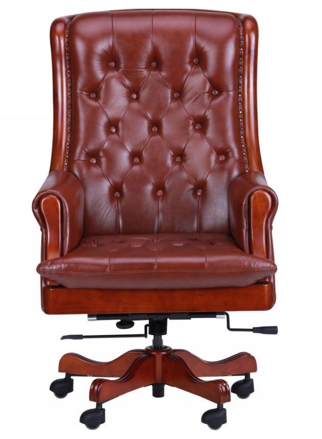 Кресло Линкольн, кожа коричневая (671-B+PVC) мех., DT-DeepTilt (фото 3)
