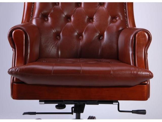 Кресло Линкольн, кожа коричневая (671-B+PVC) мех., DT-DeepTilt (фото 5)
