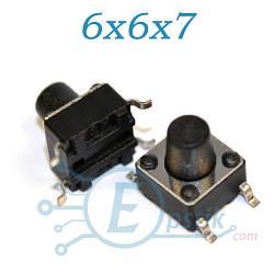 Кнопка тактовая, 6x6x7 мм., SMD