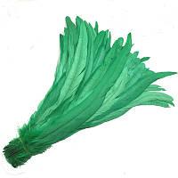 Перья петуха Зеленые декоративные оптом (Перо) 30-35 см 5 шт/уп