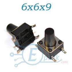 Кнопка тактовая, 6x6x9 мм., SMD