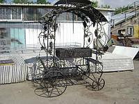 Кованой мангал с крышой и на колёсах №11