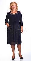Платье Pretty-201/3 белорусский трикотаж, темно-синий, 52
