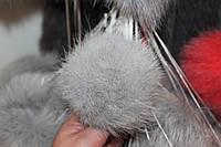 Меховой помпон песец (13-17 см) светло-серый