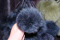 Меховой помпон песец (13-17 см) темно-синий