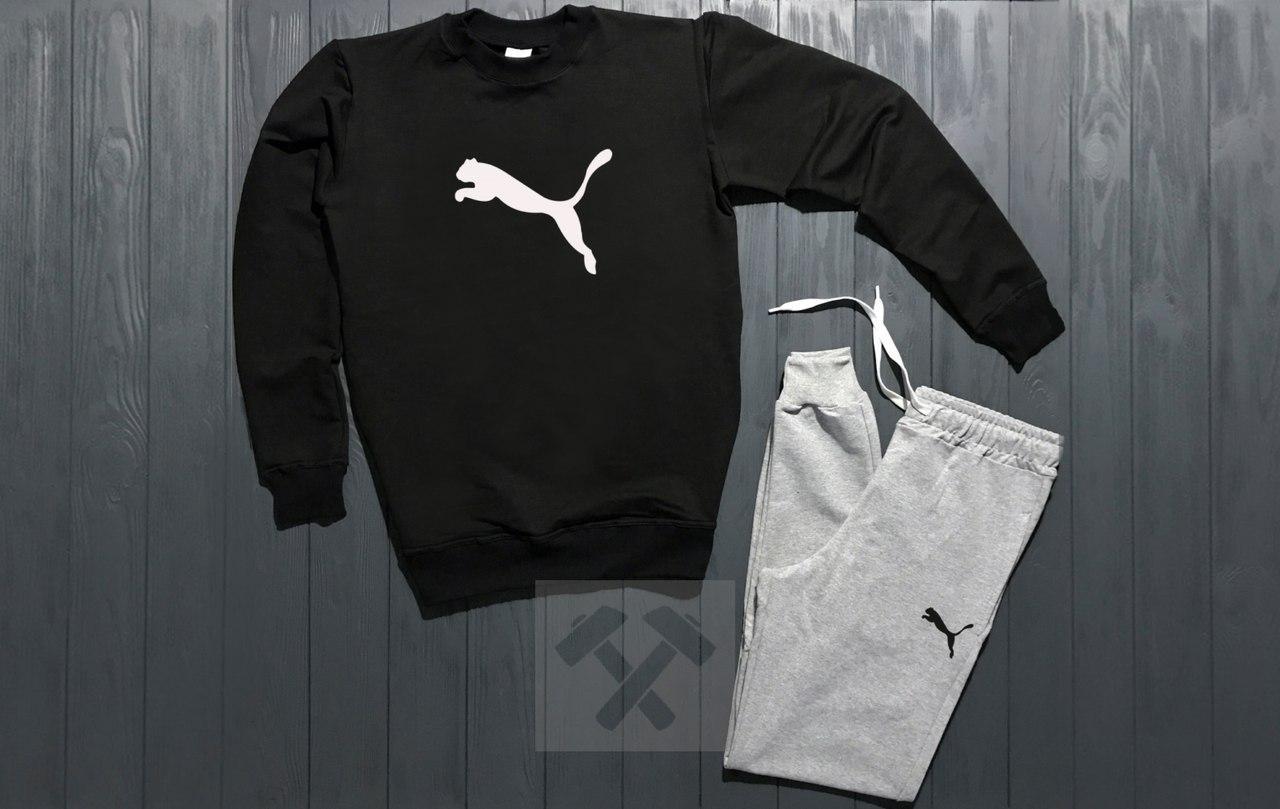 Спортивный костюм без молнии Puma черно-серый топ реплика