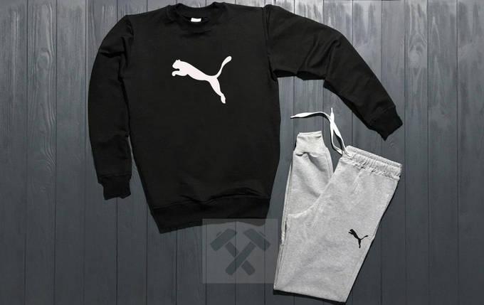 Спортивный костюм без молнии Puma черно-серый топ реплика, фото 2