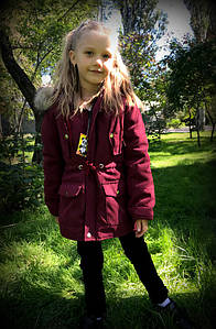 Детская зимняя парка с капюшоном в расцветках. МО-3-0818