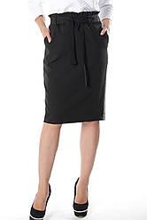 Черная классическая трикотажная юбка Карли