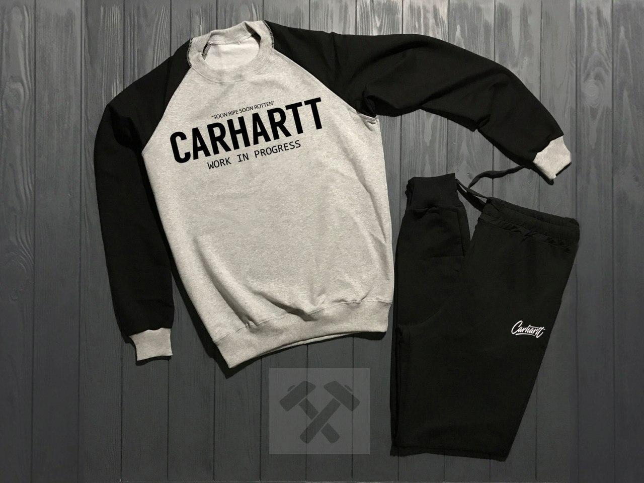 Спортивный костюм без молнии Carhartt черно-серый топ реплика