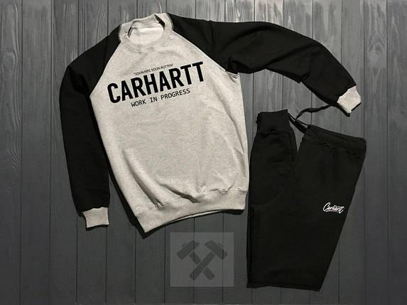 Спортивный костюм без молнии Carhartt черно-серый топ реплика, фото 2