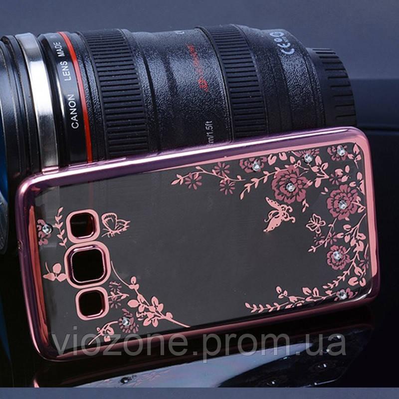 Чехол/Бампер со стразами для Samsung Galaxy J5 2015 / J500, Розовый (Силиконовый)