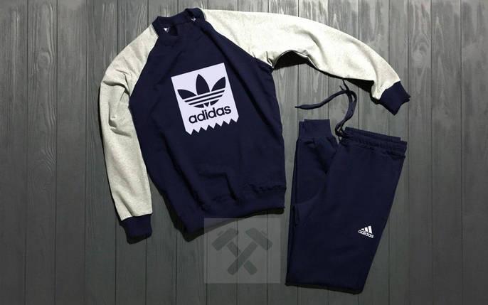 Спортивный костюм без молнии Adidas сине-серый топ реплика, фото 2