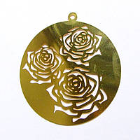 Металл. пластина Розы  диам. 5,8  см (2 шт)