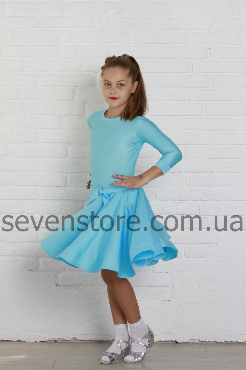 Рейтинговое платье Бейсик для бальных танцев Sevenstore 9120 Голубой