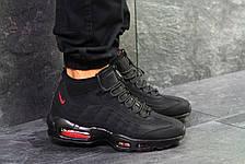 Подростковые кроссовки,термо Nike air max 95 Sneakerboot,осенние,черные с красным, фото 2