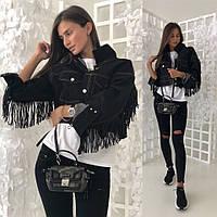 Джинсовая куртка с бахромой из эко-кожи