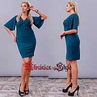 13f57922c96 Однотонное батальное платье футляр с рукавом-воланом. Цвета!