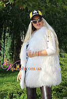 Жилетка из натурального меха ламы белая 70 см