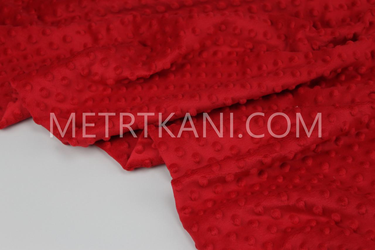 Плюш Минки червоного кольору 380г/м2 № М-7