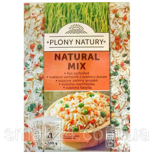 Крупа (каша) рис PLONY NATURY МИКС (рис, зеленый горошек, морковь,, базилик ( 4х100г) Польша 400Г