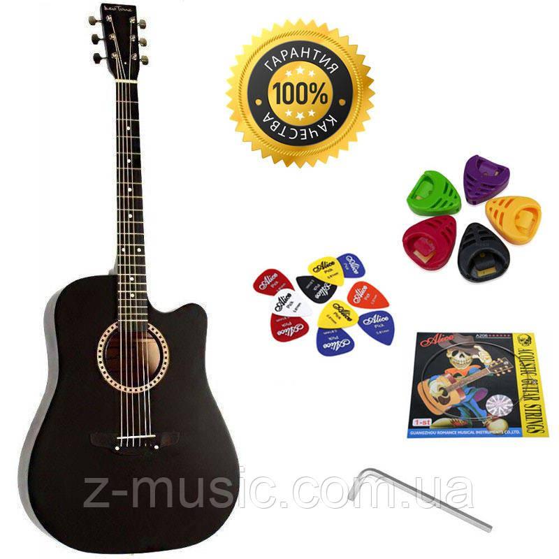 Гитара акустическая Trembita Leotone L-03 BK (струна, копилка, медиатор)