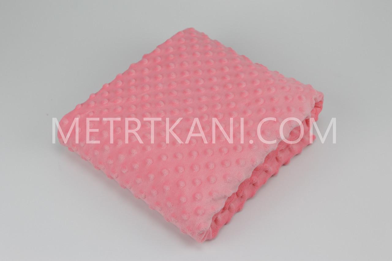 Плюш Minky коралового кольору 100*80 см № М-26