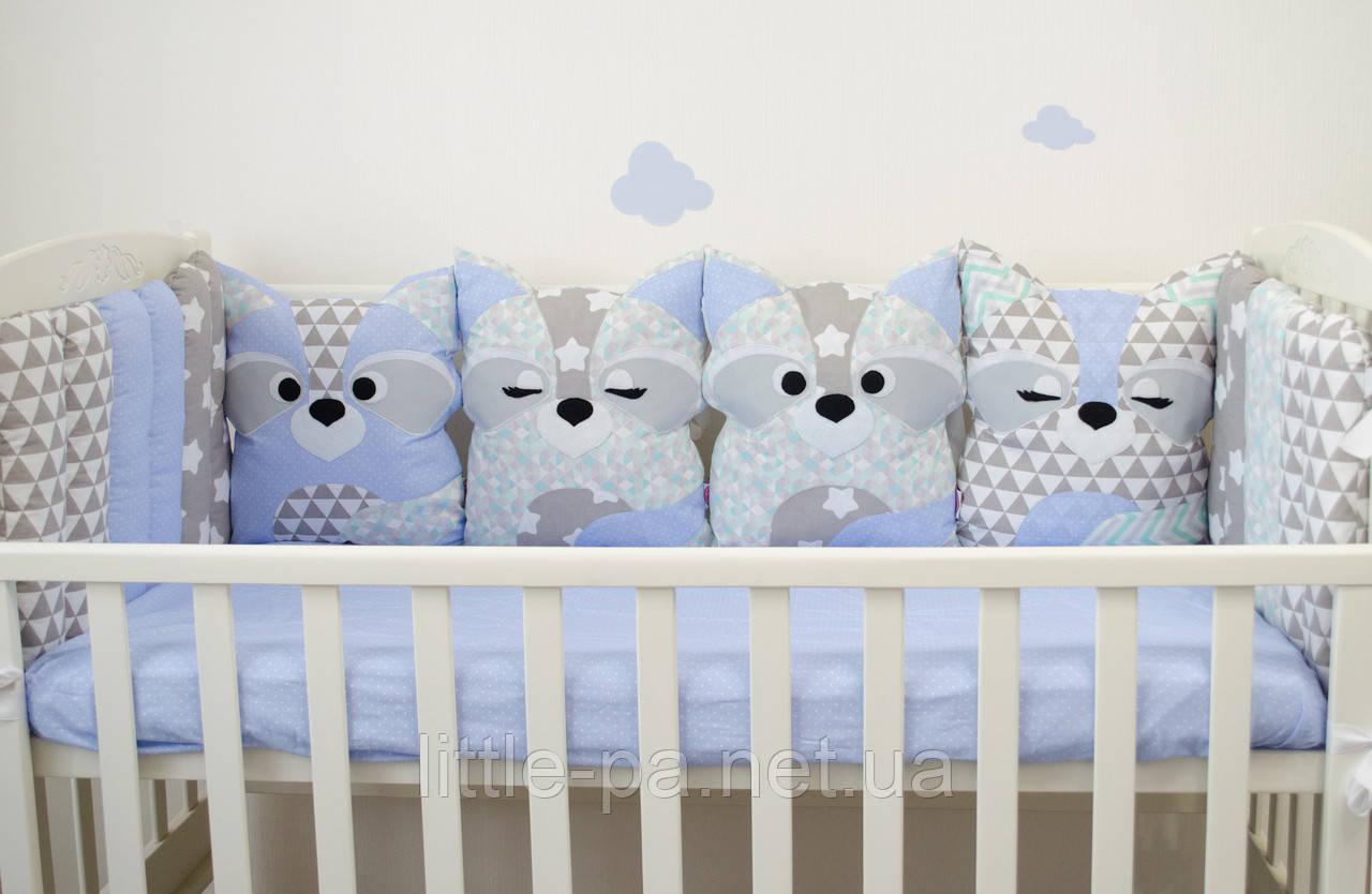 """Защита в детскую кроватку """"Енотики"""""""