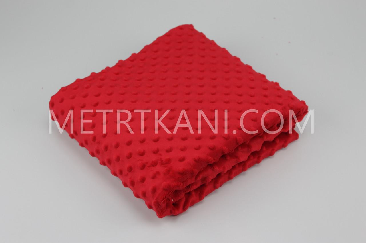 Плюш Минки червоного кольору 100*80 380г/м2 № м-7