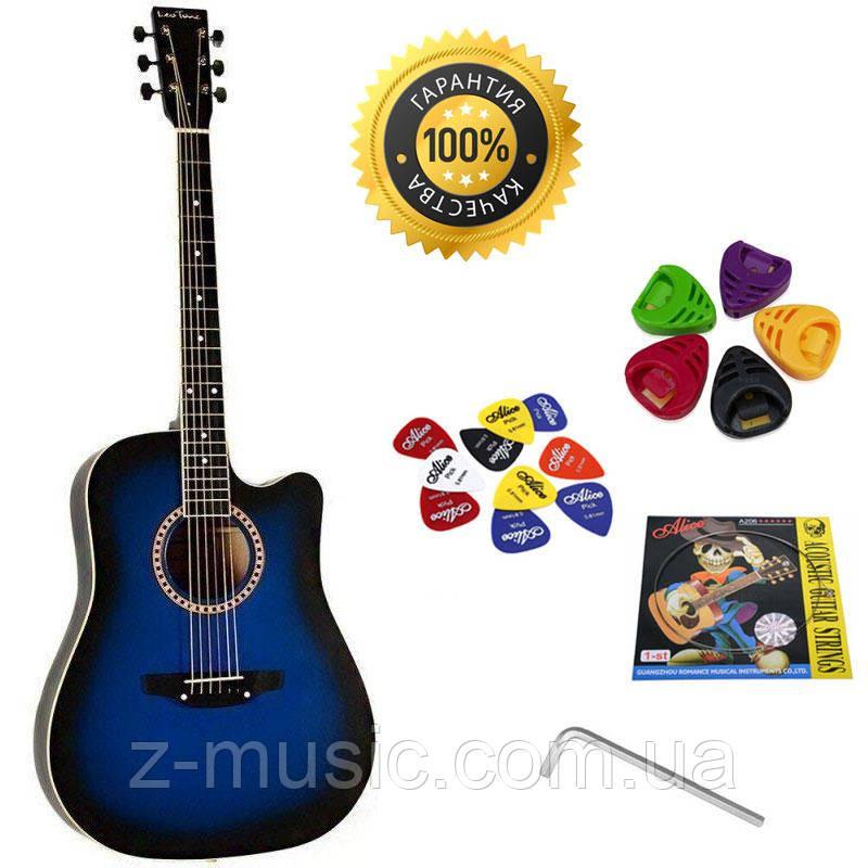 Гитара акустическая Trembita Leotone L-03 BL (струна, копилка, медиатор)