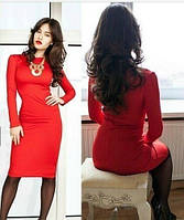 Платье красное с длинным рукавом оптом