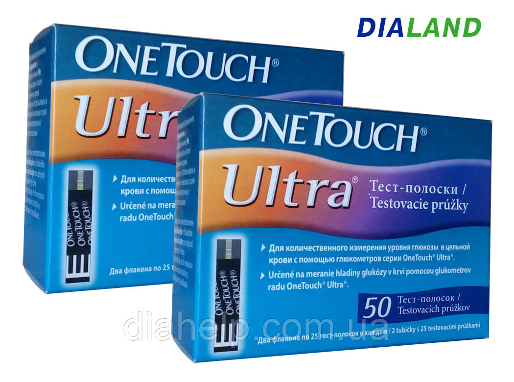 Тест-полоски Ван Тач Ультра (One Touch Ultra) 2 упаковки - 100 штук