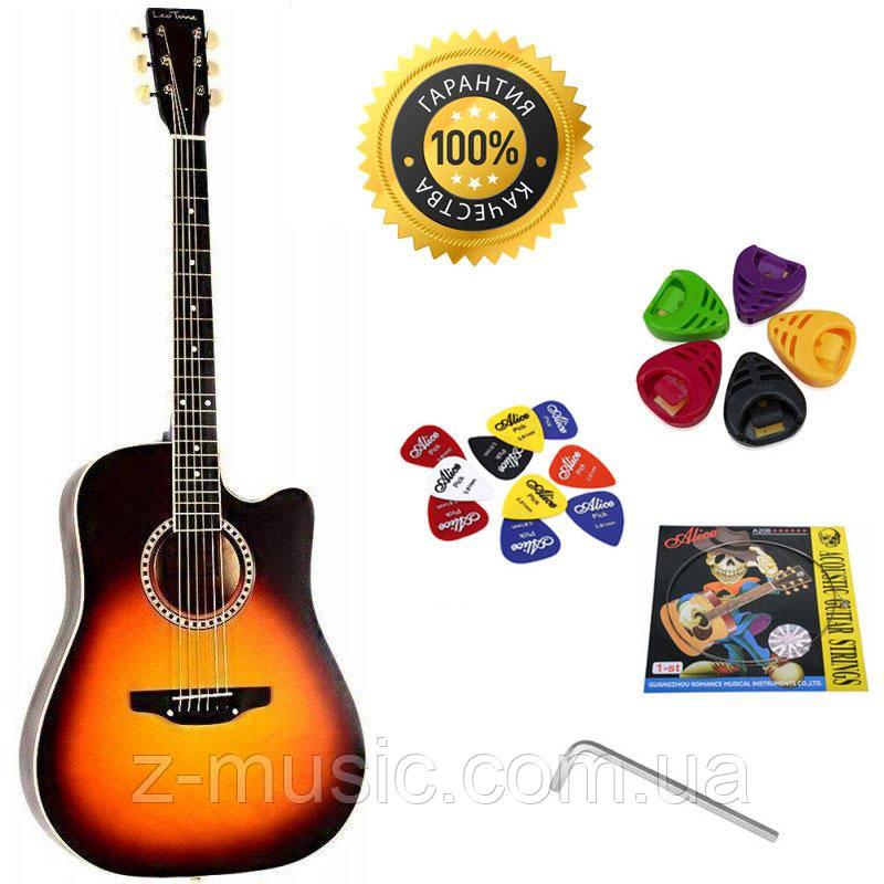 Гитара акустическая Trembita Leotone L-03 SB (струна, копилка, медиатор)