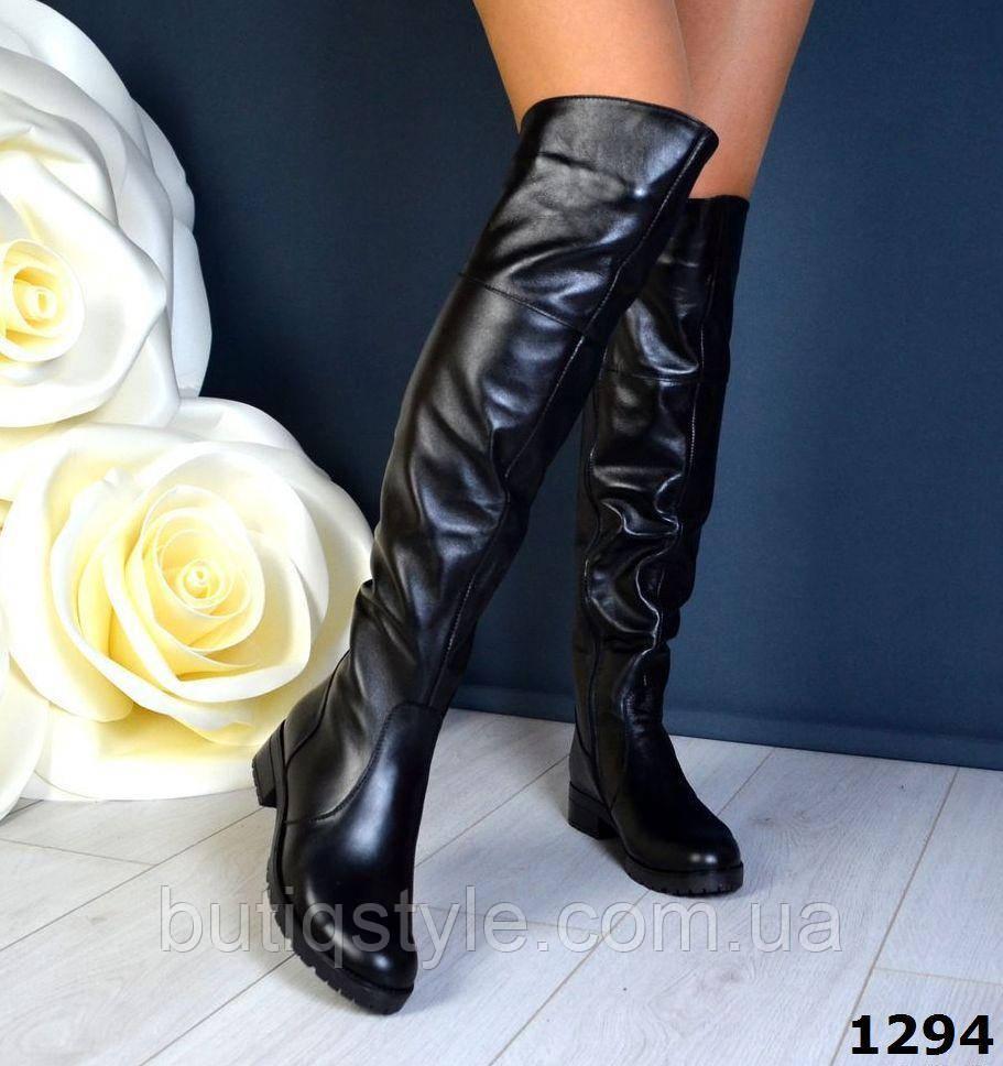 37 размер! Зимние женские кожаные черные ботфорты мех европейка шикарное качество!