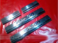 Накладки на пороги Ford Fusion 2002-2009 (4 шт.нерж.) Carmos