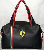 Cумка женская спортивная 012399 черная с полосками эко-кожа, фото 1
