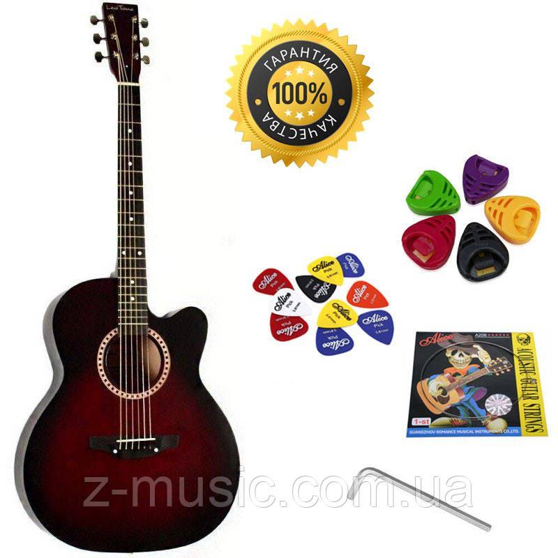 Гитара акустическая Trembita Leotone L-01 MRD (струна, копилка, медиатор)