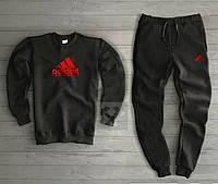Мужской зимний спортивный костюм на флисе Адидас Adidas черный (РЕПЛИКА)