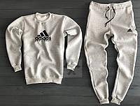 Спортивный костюм на флисе Адидас Adidas для парня серый (РЕПЛИКА)
