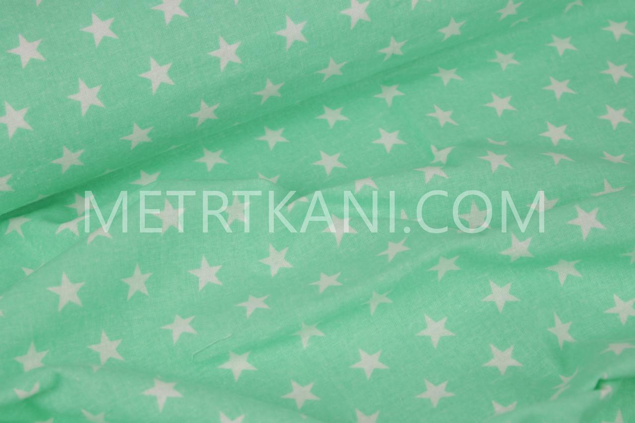Фланель детская звезды 2 см см на салатово-мятном фоне №1201