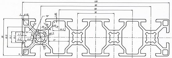 Станочный профиль ЧПУ станка  30х120