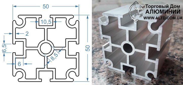 Станочный профиль | Конструкционный, без покрытия, 50х50