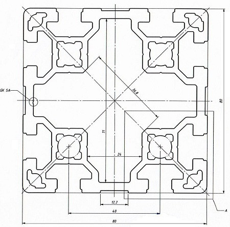 Станочный профиль   Конструкционный, без покрытия, 80х80