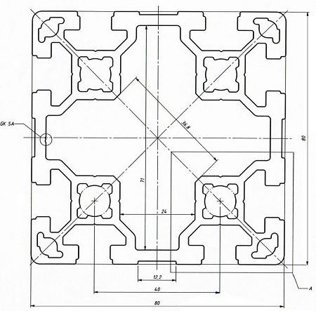 Станочный профиль ЧПУ станка| 80х80