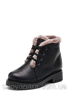 Женские зимние ботинки из натуральной кожи чёрного цвета, с подкладкой из натуральной шерсти, с шнуровкой