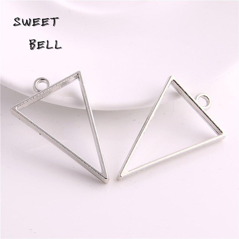 Подвеска металл, под заливку эпоксидной смолой,треугольник, цвет серебро, 25*39мм, 2шт.